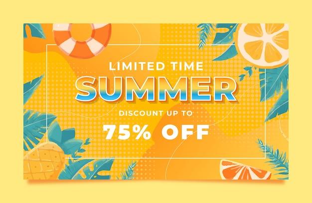 Memphis aquarel zomer verkoop sjabloon voor spandoek met blad citroen en boei