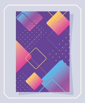 Memphis-banner met geometrische vormen en halftoonillustratie