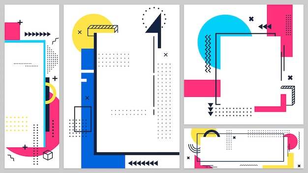 Memphis banners dekken kunst lijn, 80s en 90s spandoek poster, modern design geometrische vorm, abstracte grafische hipster trendy, vectorillustratie