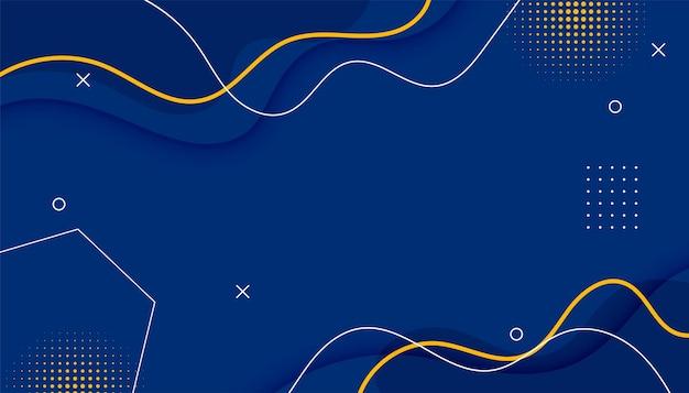 Memphis blauwe achtergrond met halftoon- en lijnelementen
