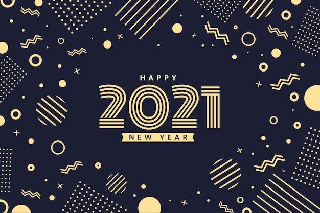 Memphis-effect gouden gelukkig nieuwjaar 2021