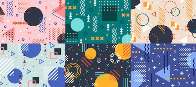 Memphis geometrie. kleurrijk vormenpatroon, levendige kleurentextuur en funky samenvatting van kleurenpatronen