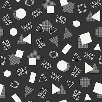 Memphis geometrische naadloze patronen. abstracte wirwartexturen. driehoek.