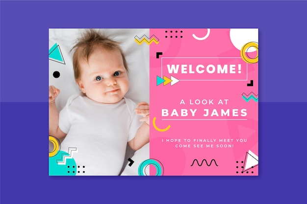 Memphis kinderlijke babykaart