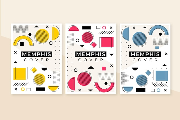 Memphis kleurrijke design omslagset