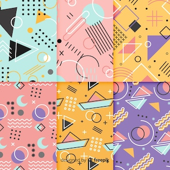 Memphis kleurrijke patroon set
