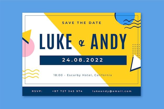 Memphis minimalistisch sparen de datumhuwelijksuitnodiging