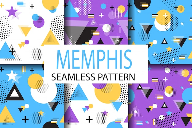 Memphis monsters patroon set vector geometrische flat.