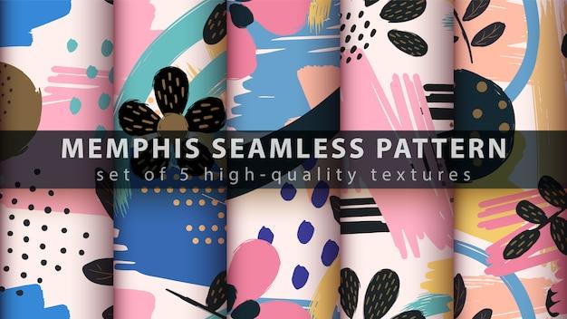 Memphis naadloos patroon - stel vijf items in
