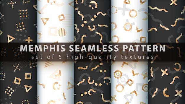 Memphis naadloos patroon - stel vijf items in.