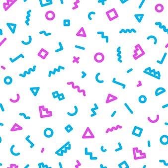 Memphis naadloze patroon bestaande uit blauwe en roze kleurvormen op wit