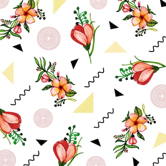 Memphis patroon met aquarel bloemen