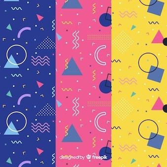Memphis patroon set elementen concept