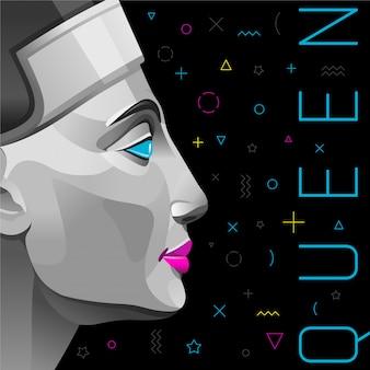 Memphis poster of uitnodiging met nefertiti-koningin in trendy zwarte kleur met geometrische elementen.