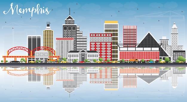Memphis skyline met kleur gebouwen, blauwe lucht en reflecties. vectorillustratie. zakelijk reizen en toerisme concept met historische architectuur. afbeelding voor presentatiebanner plakkaat en website.