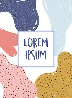 Memphis stijl abstracte decoratie textuur met vlekken banner illustratie