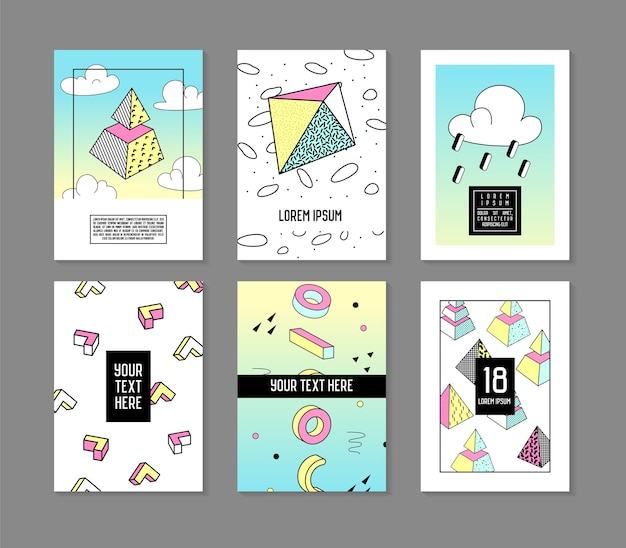Memphis stijl geometrische elementen poster sjablonen set. abstracte hipster fashion 80s 90s kaarten brochure banners met plaats voor tekst.