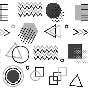 Memphis-stijl met geometrische patroon vectorillustratie met geometrische figuren