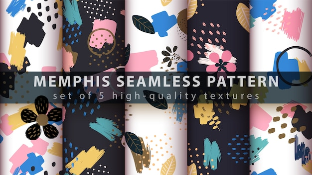 Memphis stijl naadloos patroon
