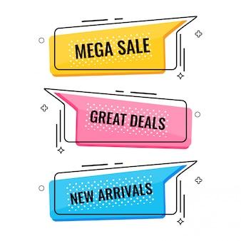 Memphis stijl platte verkoop en korting banner