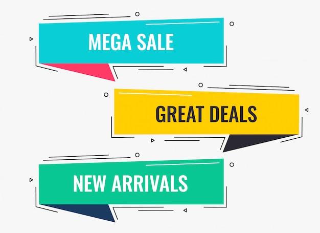 Memphis stijl platte verkoop en korting bannerontwerp