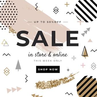 Memphis-stijl verkoop instagram-bericht