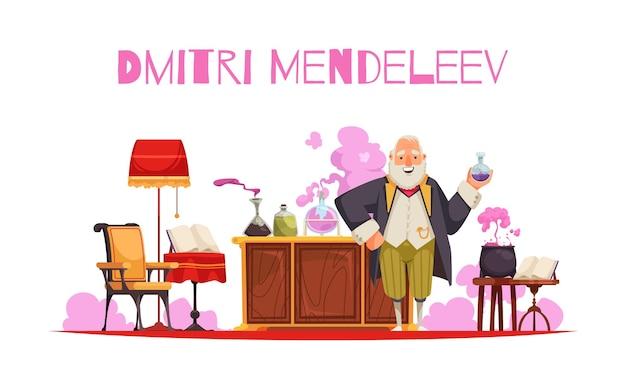 Mendeleev-compositie met bewerkbare tekst en weergave van vintage kamermeubilair met reageerbuizen en potten