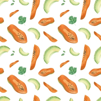 Meng fruit handgetekende naadloze patroon