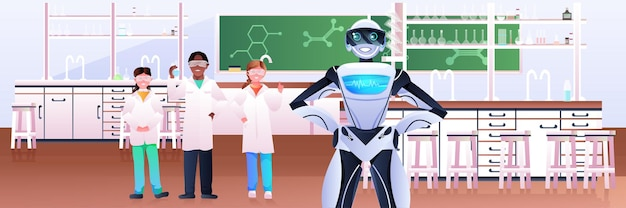 Meng rasleerlingen met robot die chemische experimenten maakt in laboratorium kunstmatige intelligentietechnologie moderne laboratoriumwetenschap klaslokaal interieur horizontaal
