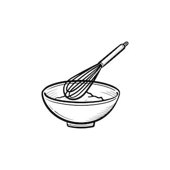 Mengkom met een draad garde hand getrokken schets doodle pictogram. keukengerei - garde en kom schets vectorillustratie voor print, web, mobiel en infographics geïsoleerd op een witte achtergrond.