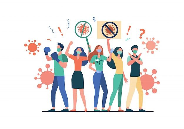 Menigte die protesteert tegen coronavirus