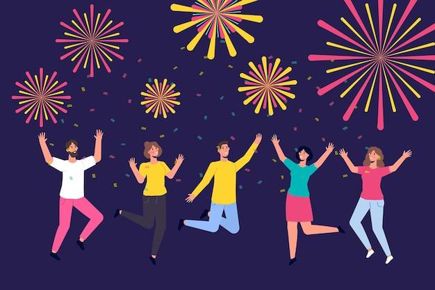 Menigte die 's nachts naar vuurwerk in de lucht kijkt. nieuwjaar vieren. platte vectorillustratie.