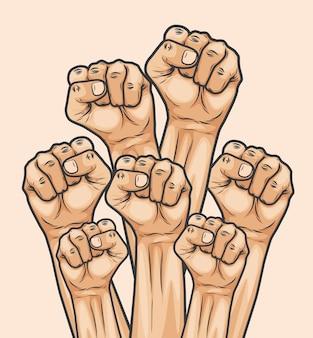 Menigte mensen die gebalde vuist opsteken