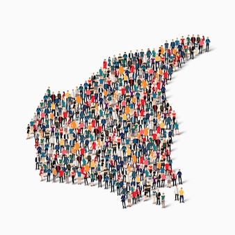 Menigte mensen groep vormen een kaart van canada.