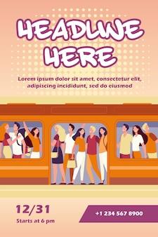Menigte van gelukkige mensen die reizen met de sjabloon van de folder van de metro