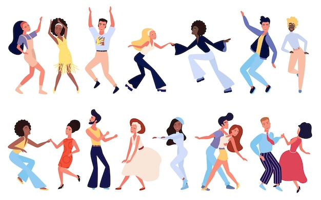 Menigte van jonge retro-mensen die dansen op clubpersonages in stijlvolle kleding die plezier hebben op clubfeest