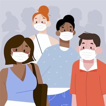 Menigte van mensen die maskersconcept dragen