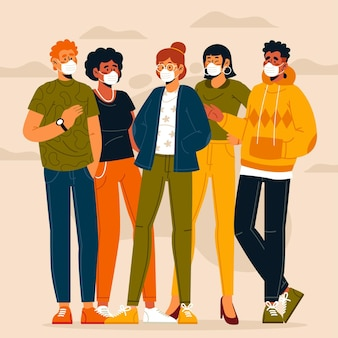 Menigte van mensen die medische geïllustreerde maskers dragen