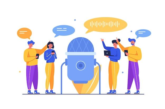 Menigte van mensen die onderling communiceren, nemen audiostemmen op via een grote microfoon die op een witte achtergrond, plat