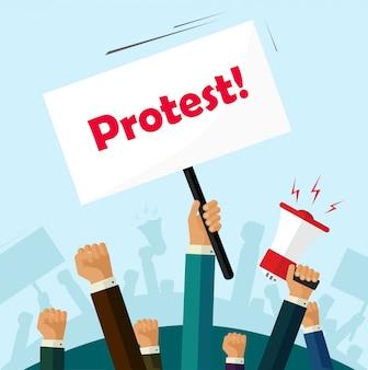 Menigte van mensen die protesteren