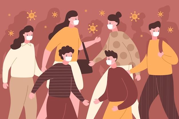 Menigte van mensen dragen gezichtsmaskers in het openbaar