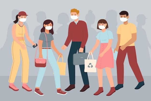 Menigte van mensen dragen gezichtsmaskers