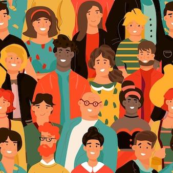 Menigte van mensen naadloos patroon groep van diverse mensen achtergrond jonge mannen en vrouwen