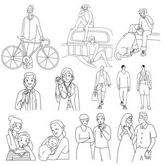 Menigte van mensenactiviteiten, dunne lijn, minimale doodle-ontwerpillustraties.