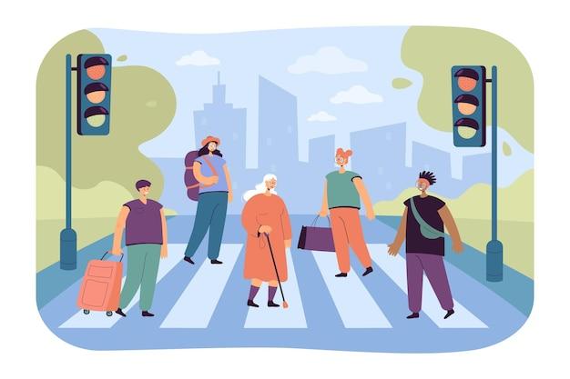 Menigte van verschillende mensen die de vlakke illustratie van de laanweg oversteken