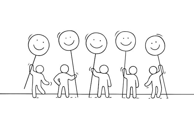 Menigte van werkende kleine mensen met een glimlach zingt. hand getekend