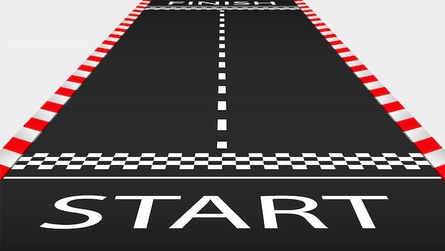 Mening van het lege asfaltracebaan