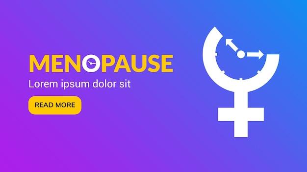 Menopauze pictogram bewustzijn. vrouw vruchtbaarheid leeftijd klok menstruatie.