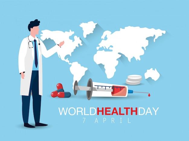 Mens arts met spuit aan wereldgezondheidsdag