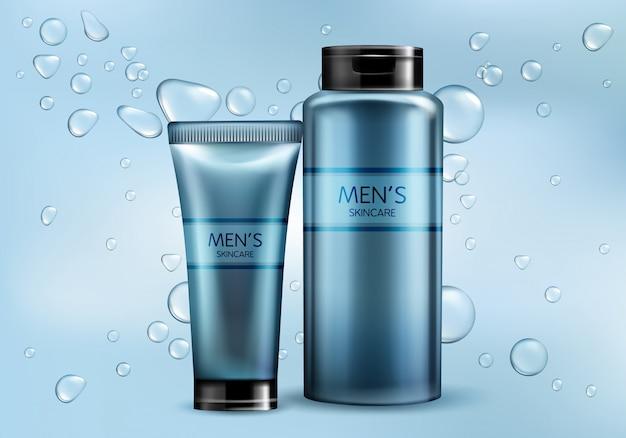 Mens cosmetica producten lijn 3d-realistische vector reclame mockup. huidverzorging crème, shampoo, scheerschuim of lotion plastic buis, glazen fles illustraties op verloop achtergrond met water bubbels